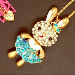Betsey Johnson Bunny w Blue Crystal Necklace